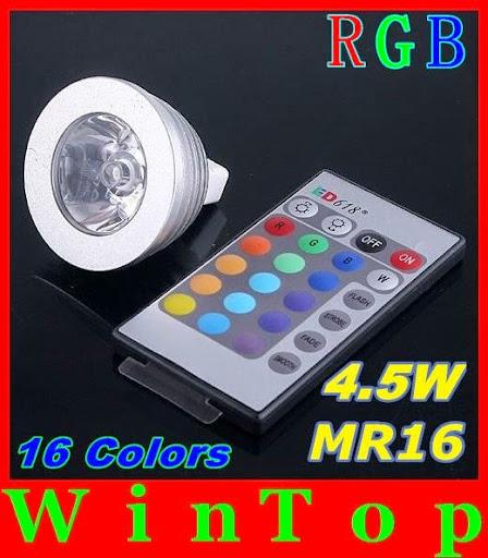 2PCS DC12V 16 Colors changing RGB LED Lamp 4.5W MR16 RG